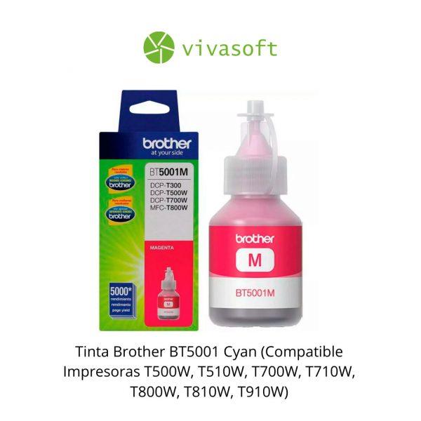 Botella Tinta Brother BT5001 Magenta 48.8ML impresora bogota